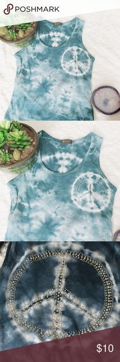 Peace & clouds tye dye top ☁️ ✌️ This top is so fun & light. It's one of a kind and handmade by a boutique in my college town. It's a tye dye sky esque sleeveless top, decorated with crystals that form a peace sign on the back & front. I only wore this a couple times after purchasing. ☮️ Urban Outfitters Tops Tank Tops