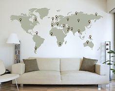EXTRA grote wereld kaart Decal 11ft x 57 ft / 3.5m x door Wallboss