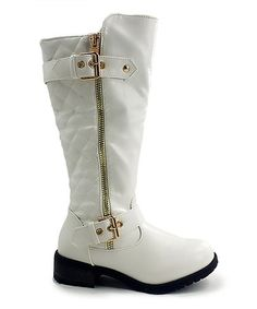 Another great find on #zulily! White Quilted Double-Buckle Boot #zulilyfinds
