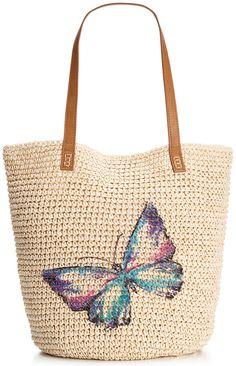 Style & Co. Style & Co. Butterfly Straw Beach Bag, Only at Macy's