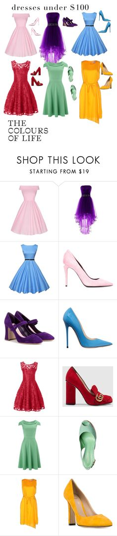 """Colourful Dresses Under £100/$100"" by cottonbutterscotchkupkakes ❤ liked on Polyvore featuring WithChic, Alexander Wang, Miu Miu, Jimmy Choo, Gucci, Phase Eight, Ready to Fish by Ilja and Paula Cademartori"