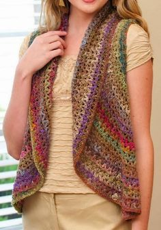 Wonderful crochet bolero / vest for women The Crochet Patterns . Using Noro Yarns - Buy online … Crochet Waistcoat, Crochet Bolero, Cardigan Au Crochet, Beau Crochet, Crochet Mignon, Pull Crochet, Crochet Vest Pattern, Mode Crochet, Crochet Jacket