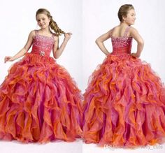 2014 New Custom Made Beaded Spaghtti Ball Gowns kids Girl Pageant Dress Colorful Formal Dance Party Evening Prom Dresses