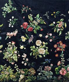 gorgeous! embroidered floral on dark background