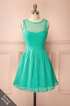 Léonie - Bright turquoise dress with tulle and embroidery
