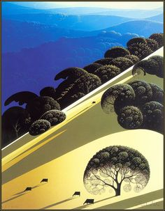 Summer - Eyvind Earle - Eyvind Earle was an American artist, author and illustrator, noted for his contribution to the background illustration and styling of Disney animated films in the Born: April New York City Died: July 2000 Art And Illustration, Landscape Art, Landscape Paintings, Eyvind Earle, Posca Art, Wow Art, Naive Art, Art Graphique, Tree Art