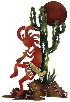 Kokopelli sunset, metal art piece by Elias Toledano, Jalisco, Mexico Southwestern Art, Southwest Decor, Southwestern Decorating, Southwest Kitchen, Native American Design, American Indian Art, Arte Tribal, Art Populaire, Art Sculpture