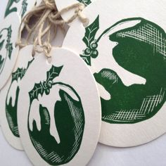 Christmas pudding linocut/ letterpress garland by rubyvictoria