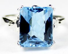 SR188, 12x10mm Swiss Blue Topaz , 925 Sterling Silver Ring - Handcrafted in USA #HandmadeintheUSA #Solitaire