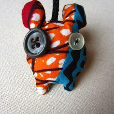 Porte-clés monstre wax motif africain orange, rouge et turquoise (envoi 0€)