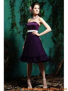 Amethyst Strapless Knee length Sash Chiffon Satin Empire Bridesmaid Dress 2013