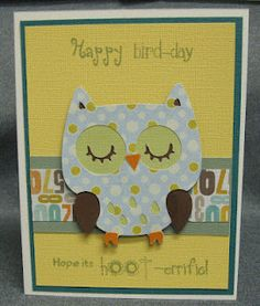 I have a fun card today for you that I made for the final card exchange club of the season. It has been so fun to see the cards come in eac. Happy Bird Day, Create A Critter, Cricut Cards, Cool Cards, Kids Cards, Birthday Cards, Diy Crafts, Handmade Cards, Owls