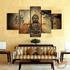 5 Panel Buddha Canvas Painting Print – Laura's Laine