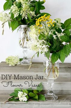 Gorgeous right? These farmhouse style flower arrangements were created along with the DIY mason jar vases to infuse your home with farmhouse style. Project created by Dandelion Patina for Hoosier Homemade.