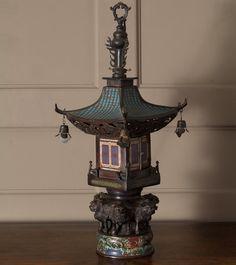 Chinese Pagoda Lantern, c. Chinese Pagoda, Chinese Lamps, Chinese Lanterns, Steampunk Home Decor, Steampunk House, Asian Lamps, Chinese Buildings, Old Lanterns, Stone Lantern