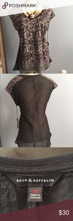 💋NWT Rock & Republic Gypsy traveler top 💋 NWT Rock and Republic top has a black, taupe, and purple damask print with a subtle sparkle. Slightly fitted with a more flowy hem keeps this edgy top feminine. Back is black and sheer. Size XS. Rock & Republic Tops Blouses