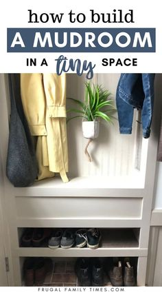 Wish you had space for a mudroom?You just might! We made an organized entryway mudroom space in a tiny stair landing! A built in mudroom may be your entryway storage solution too. We focused our DIY skills on adding a mudroom in a small space - and we've small mudroom ideas for you too! #mudroom #smallspace #entryway #storage #builtin Organized Entryway, Entryway Storage, Entryway Organization, Built In Storage, Entryway Decor, Entryway Ideas, Shoe Storage, Foyer, Diy House Projects
