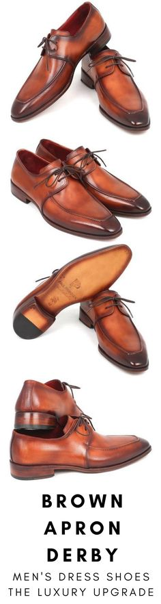 Mens dress shoe in brown apron Derby by Paul Parkman. Luxury mens handmade dress shoes, formal shoes, business shoes for any occasion. These shoes come in multiple sizes. They are hand-painted with care by expert shoemakers. #mensdressshoes #dressshoes #shoes #mensfashion #socks #laces #handmade #bestshoes #luxuryshoes #businessshoes #formalshoes