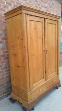 76 tall antique wax pine armoire wardrobe country closet 2 drawers hanging bar antique english pine armoire