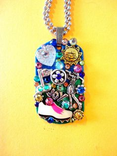 One Of A Kind BRADOS Bling Love To Golf Dog Tag Pendant. All pendants are made with Swarovski crystal rhinestones, modern and vintage charms, paint, s