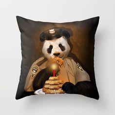 PANDA POLICE Throw pillow case @pointsalestore #society6threesecond #throwpillowcase #pillow  #painting #digital #oil #popart #animal #bear #pandas #pandabear  #humor #cute #parody #birthday #pandalover #china #bamboo #baby #panda #lol #retro #pandaface #police