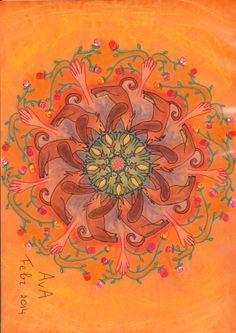 MANDALA: oranje; kikker, wolf, hand, roos