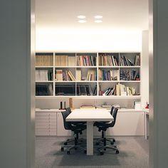 #Oficina #moderno #decoracion via @planreforma #sillas #escritorio #iluminacion #estanterias