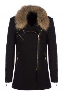 Manteau droit en feutre - noir