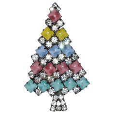 Pastel Chicklet Glass & Rhinestone Christmas Tree Pin