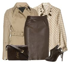"""""""Brown Leather Skirt"""" by daiscat ❤ liked on Polyvore featuring MICHAEL Michael Kors, Burberry, House of Harlow 1960, Jitrois, Gianvito Rossi, Yves Saint Laurent and FOSSIL"""