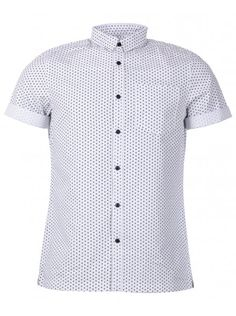 0a9768c405c0 Mens white star print oxford short sleeve shirt by twisted soul heritage