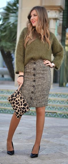 Love Open Back Olive Green Sweater Sexy Button Up Skirt / Best LoLus Street Fashion