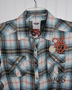 Harley Davidson Womens Plaid Shirt sz Medium M Short Sleeve Pearl Snap  #HarleyDavidson #SnapDownShirt
