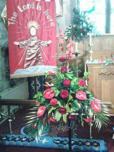 Flower festival, red arrangement.