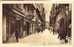 La Coruña. Calle Real. Postal sepia, c. 1930 ?.