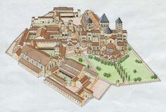 Reconstruction drawing of the Abbey at Cluny. Burgundy, France. 1088-1130. View from the east.