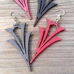 'V-on-V' Green Tree Jewelry laser-cut wood earrings Black or Wine 1076 art-deco #GreenTreeJewelry #DropDangle