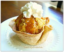 BAKED CINNAMON SUGAR TORTILLA BOWLS!!!  So easy to make!  If you have tortillas, butter, cinnamon & Sugar, you can make these bowls!   Fun presentation for desserts!  Fill with  fresh fruit, ice cream, apple crisp...don't forget to eat the bowl!  {this bowl is filled with cheater fried ice cream}