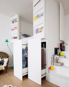The small Parisian apartment of two architects - PLANETE DECO a homes world # a . - The small Parisian apartment of two architects – PLANETE DECO a homes world # appartement - Bedroom Loft, Bedroom Storage, Girls Bedroom, Trendy Bedroom, Mezzanine Bedroom, Bedroom Ideas, Small Apartments, Small Spaces, Studio Apartments