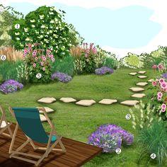 1Sambucus nigra 2Lavande 3Pennisetum Hameln 4Miscanthus 5Rose trémière 6Calamagrostis Get On The Floor, Backyard Privacy, Garden Deco, Outdoor Furniture Sets, Outdoor Decor, Plan Design, Agriculture, Sun Lounger, Flower Power