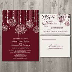 Christmas Sparkle Wedding Invitation Suite - DIY Printable Invitation and RSVP Card