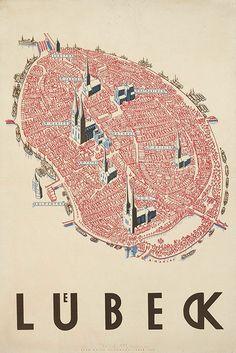 Duitse citymarketing anno 1934 met deze poster van de stad Lübeck gemaakt door Alfred Mahlau.