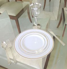 Wedding Party Disposable Plastic Plates and cutlery u0026 wine cups w/ silver rim & Wedding Party Disposable Plastic Plates and cutlery u0026 wine cups w ...
