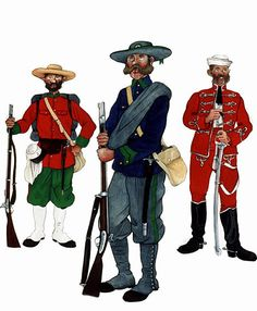"""The Mexican Adventure: Uniforms: Mexican Imperial Troops 4. Line Infantry (1866 - 1867). 5. Battallion of Cazadores (1866 - 1867). 6. Trooper, """"Red Hussars"""" (1867)."""