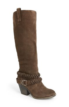 Free shipping and returns on Sole Society 'Vera' Suede Knee High Boot (Women) at Nordstrom.com. These Western-inspired suede boots with just the right amount of slouch feature an almond toe, stacked heel, pull tabs and braided straps for a stylish look that hits the mark, every time.