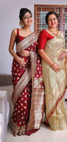 Indian Bridal Outfits, Indian Designer Outfits, Indian Designer Sarees, Silk Saree Blouse Designs, Saree Blouse Patterns, Dress Indian Style, Indian Dresses, Indian Saris, Latest Silk Sarees