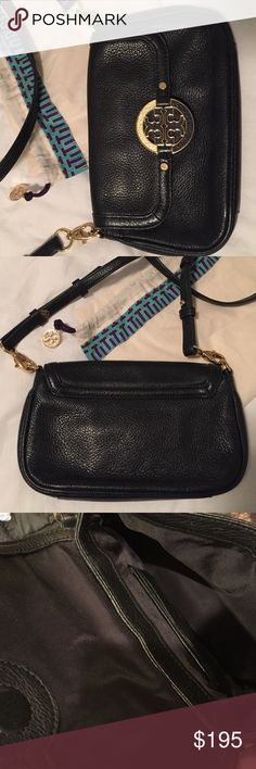 """Tory Burch Amanda Cross Body Bag Black cross body bag, excellent condition! 8.5 X 5.5"""" Black leather material and strap. Original protective cloth bag that is used to store the purse Tory Burch Bags Crossbody Bags"""