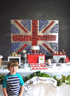 Love the Union Jack backdrop made of cars for a Cars 2 party.