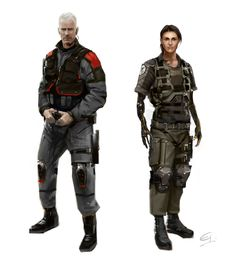 21358 - Deus Ex: Human Revolution: Missing Link Character designs Belltower officers Pieter Burke and Netanya Keitner