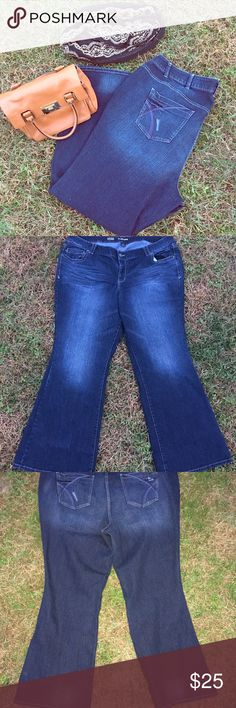 Just In Lane Bryant Lightly Flared Jeans Nice dark wash slightly distressed lightly flared jeans.  They have stretch and average length.  Worn just once Lane Bryant Jeans Flare & Wide Leg